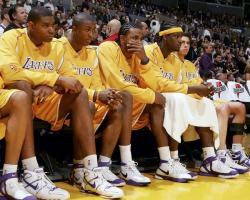 team bench oly full.   hawks lakers