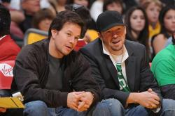 Laker fans Mark Wahlberg and Donnie Wahlber.jpg
