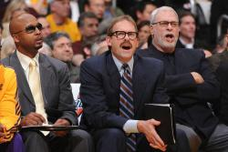 The coaching staff Brian Shaw, Kurt Rambis, and Phil Jackson look on.jpg