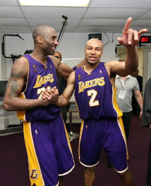 Kobe Bryant And Derek Fisher Celebrate In The Locker Room After Game 4 Of The 2009 Nba Finals Jpg Hi Res 720p Hd