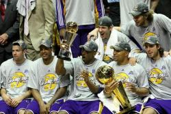 Lakers team celebrate during post game NBA Championship ceremony.jpg