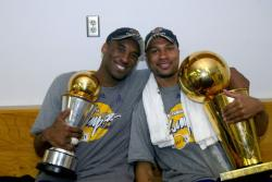 Kobe Bryant and Derek Fisher hold trophies after the Lakers become 2009 NBA Champions.jpg