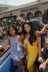 Vanessa Bryant with daughters and Kobe on the Lakers Championship Parade bus.jpg