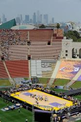 Basketball court stage at the the Lakers Championship Rally in the LA Coliseum 2009.jpg