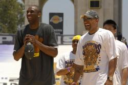 Kobe Bryant and Derek Fisher have a laugh at the Lakers championship rally 2009.jpg