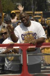 Magic Johnson at the front of the bus during the Lakers Championship Parade 2009.jpg