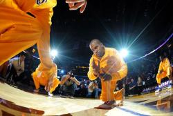 Derek Fisher gets down low as he is introduced at Staples Center.JPG