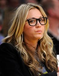 Laker fan Kaley Cuoco in black rim glasses.JPG