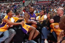 Ron Artest falls into a crowd of Laker fans in Detroit.JPG