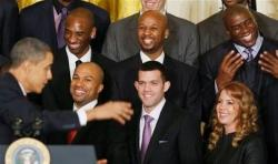 Jeanie Buss smiles as Barrack Obama addresses the Lakers team.JPG