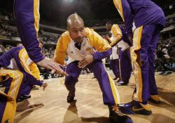 Derek Fisher gets down low as he is introduced in Indianapolis.JPG