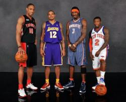 Shannon Brown with Demar DeRozan Gerald Wallace and Nate Robinson the contestants of the 2010 NBA Dunk contest.JPG