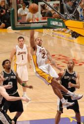 Shannon Brown acrobatic layup vs the Spurs at Staples Center.JPG