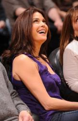 Laker fan Teri Hatcher smiles in Staples Center.JPG