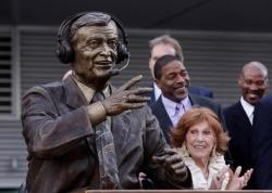 Chick Hearn statue in front of Staples Center.JPG