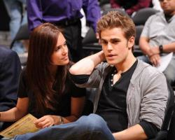 Laker fans Paul Wesley and his girlfriend Torrey DeVitto at a Laker game.JPG
