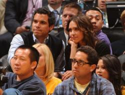 Laker fans Jessica Alba and Cash Warren.JPG