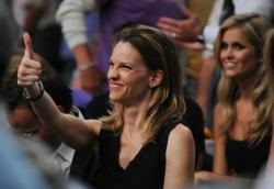 Laker fan Hilary Swank gives the thumb up at Staples Center.JPG