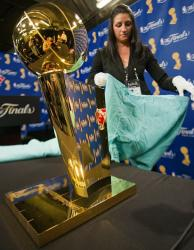 The Lakers 2010 NBA Championship trophy being prepped.JPG