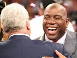 Magic Johnson congratulates Phil Jackson as the Lakers win the 2010 NBA Championship.JPG