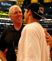 Luke Walton is congratulated by his father Bill Walton after the Lakers win the 2010 NBA Championship.JPG