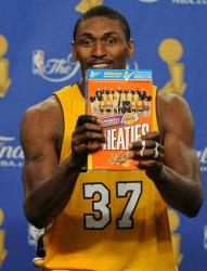 Wheaties Lakers 2010 Championship box is held up by Ron Artest.JPG