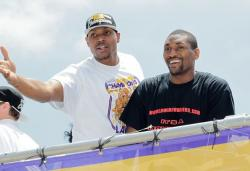 Andrew Bynum and Ron Artest smiles during the Lakers Championship Parade 2010.JPG