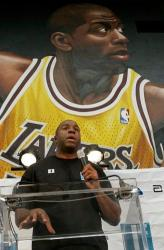 Magic Johnson speaks during World AIDS day.JPG