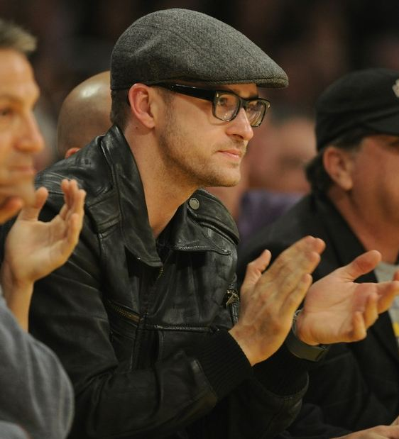 4d041900966 Laker fan Justin Timberlake in gray hat and glasses at Staples Center.JPG