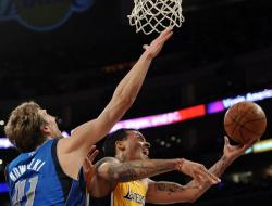 Matt Barnes goes for the layup inside vs Dirk Nowitzki.JPG