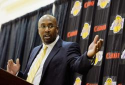Mike Brown gestures with his left hand during his introduction as new Laker head coach 2011.JPG