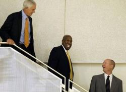 Mike Brown laughs as he and Mitch Kupchak and John Black are on the stairs.JPG