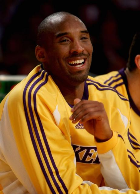Kobe Bryant Has A Laugh At The Bench Jpg