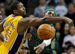 Metta World Peace tries to deflect the pass from Paul Pierce.JPG