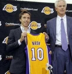 Steve Nash holds up his Lakers number 10 jersey next to Mitch Kupchak.JPG