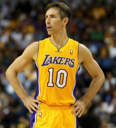 Steve Nash looks on in his Lakers home jersey.JPG