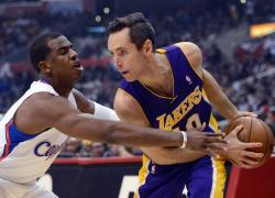 Steve Nash keeps the ball away from the steal-happy hands of Chris Paul of the Clippers.JPG