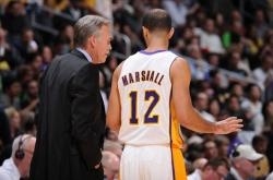 Kendall Marshall talks to Coach Mike D'Antoni.JPG
