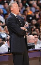 Mike D'Antoni folds his arms and looks on at Staples Center.JPG