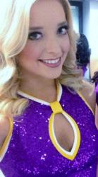 Blonde Laker Girl Blake Smiles in Shiny Purple Outfit.JPG