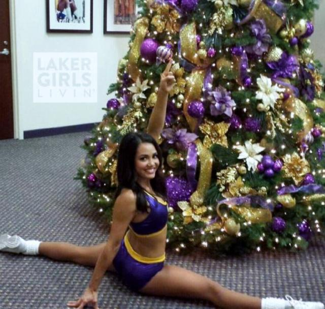Girl Marysa Does The Splits In Purple Skirt Front Of Christmas