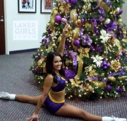 Laker Girl Marysa Does the Splits in Purple Skirt in front of Christmas Tree 2014.JPG