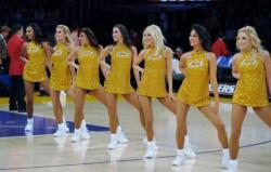 7 Laker Girls in Gold Glittery Dresses Perform @ Staples Center 2015.JPG
