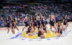 Laker Girls in Dark Purple Dresses Pose @ Midcourt of Staples Center