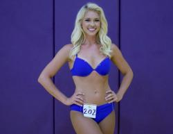Blonde Laker Girl Finalist 2015 in Purple Top and Bottom.JPG