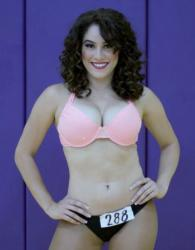 Curly Hair Brunette Laker Girl 2015 Finalist Smiling.JPG