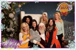 Laker Girls with Santa Clause Happy Holidays Post Card 2015.JPG