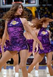 Laker Girls in Shiny Purple Short Dresses Perform @ Staples Center 2016.JPG