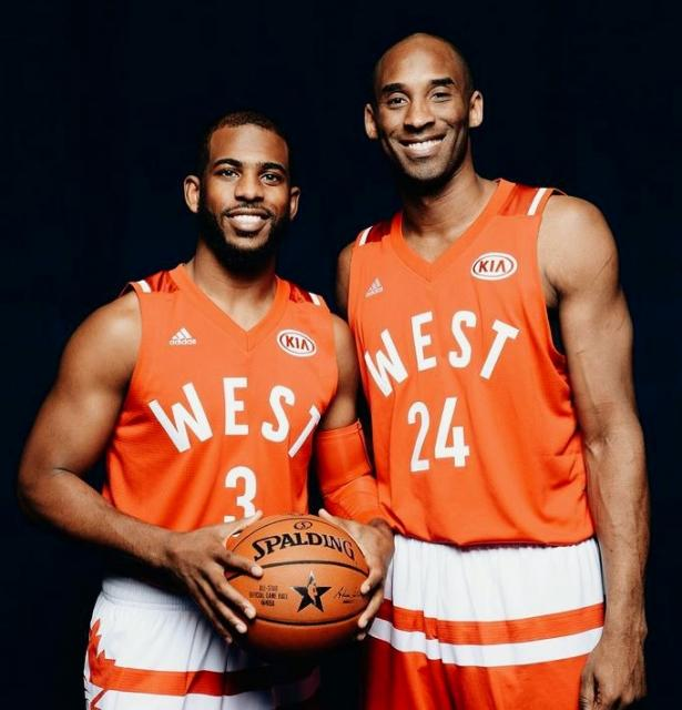 ¿Cuánto mide Chris Paul? - Real height Kobe+Bryant+2016+All+Star+Photo+with+Chris+Paul