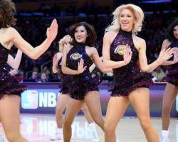 Laker Girls in Glittery Dark Purple Outfit Perform at Staples Center 2016.JPG